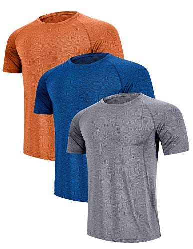 GEEK LIGHTING Men's Running Dry Fit T-Shirt Athletic Outdoor Short Sleeve Comfortable Top(Light Gray+Dark Blue+Orange,M) ()