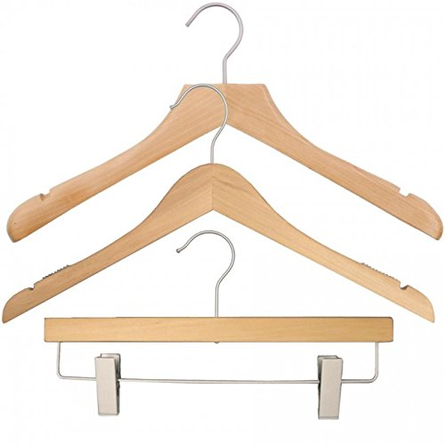 NAHANCO 20017HUSK Wood Clothes Hanger Kit - Natural (Pack of 79) by NAHANCO