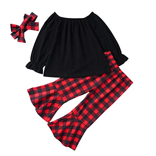 Baby Girl Christmas Pants Sets Toddler Long Sleeve T-Shirt + Plaid Bell-Bottom Pants with Bow Headband Outfits(Red Plaid, 3 Years) (Bow Tech Shirt)