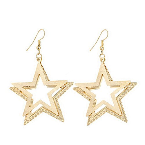IDB Delicate Dangle Double Five-pointed Star Drop Hook Earrings - available in silver and gold tones (Gold (Gold Double Star)