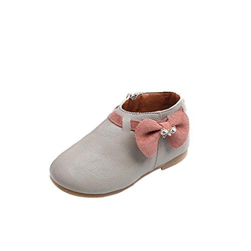 KMG Kimloog Toddler Baby Girls Bowknot Martin Ankle Boots Soft Rubber Zipper Sneaker Shoes (Gray, 7 M US Toddler)