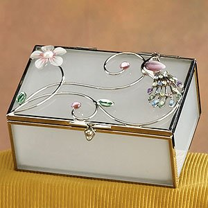 Amazoncom Elegant Glass Jewelry Box Peacock with White Floral A