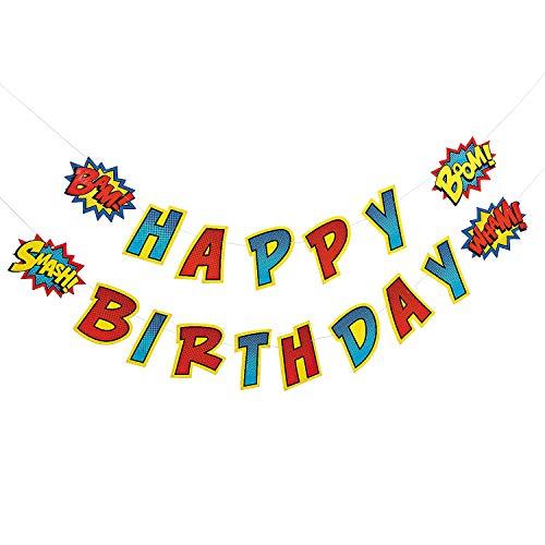 Fun Express - Superhero Birthday Garland for Birthday - Party Decor - Hanging Decor - Garland - Birthday - 2 -
