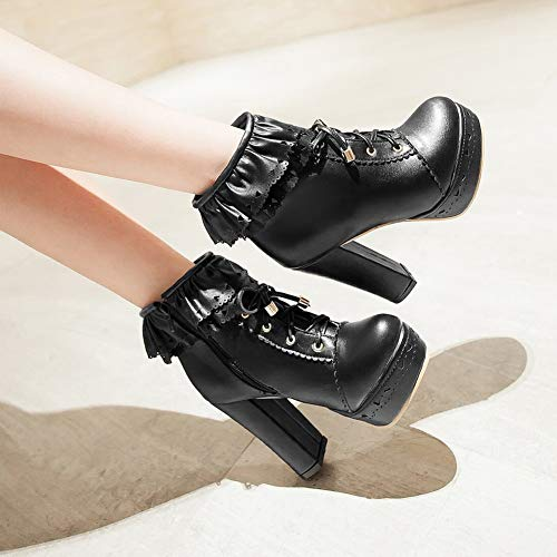 Platform Boots Black Foot Charm Womens Ankle aAfqC