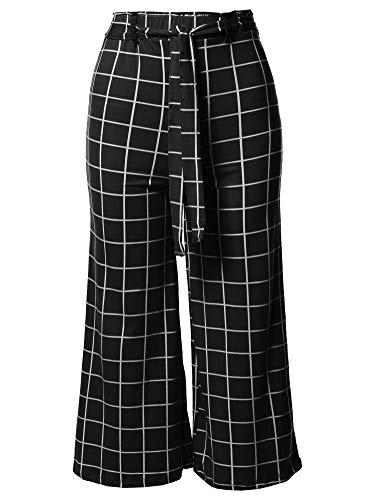 (Awesome21 Casual Tie Waist Culottes Capri Length Pants Black White M)