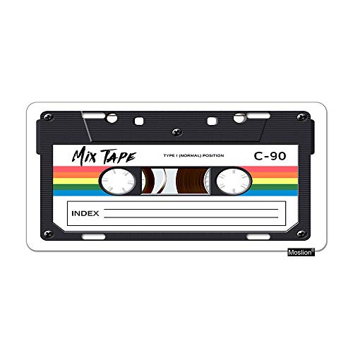 Moslion Music License Plate Vintage Cassette 80S Revival Mix Tape Disco Dance Hipster Car Tags Aluminum Metal Custom License Plate Cover 6x12 Inch for Truck SUV ()