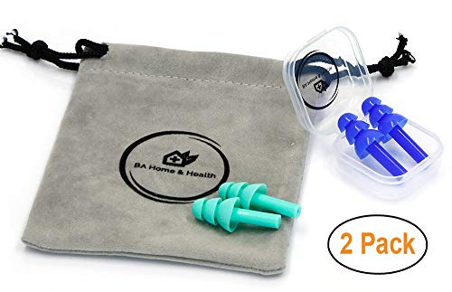 Premium Reusable Silicone Ear Plugs for Sleeping, Traveling, Shooting, Swimming, Diving, snoring, earplugs Noise Reduction/Cancelling, Sound Blocking, Hearing Protection by BA Home & Health