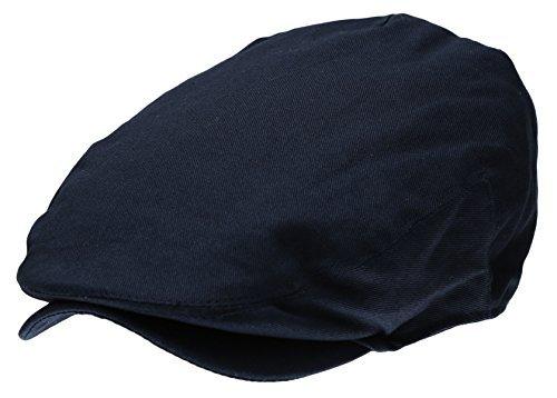 Men's Collection Cotton Ivy Flat Cap Gatsby Newsboy Hat (Navy)