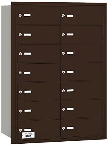 Salsbury Industries 3614ZRU 4B Plus Horizontal Mailbox, 14 B Doors, Rear Loading, USPS Access, Bronze