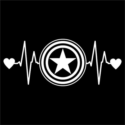 Ego Ideas Alter Costume Party (Captain America Love Heartbeat Avengers Marvel Decal Vinyl Sticker|Cars Trucks Vans Walls Laptop| White |6.5 x 2.5)