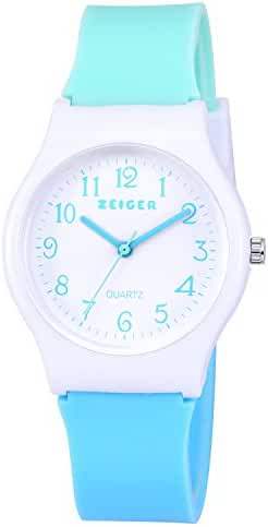 Zeiger New Children Kids Watch, Young Girls Teen Student Time Teacher Watch Resin Band(Mint/Sky Blue)
