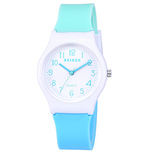 Zeiger New Children Kids Watch, Young Girls Teen Student Time Teacher Watch Resin Band (Mint/Sky Blue)