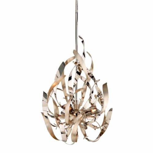 Corbett Lighting 154-43 3-Light Mini Pendant, Graffiti Silver Leaf and Polished Nickel Polished Stainless