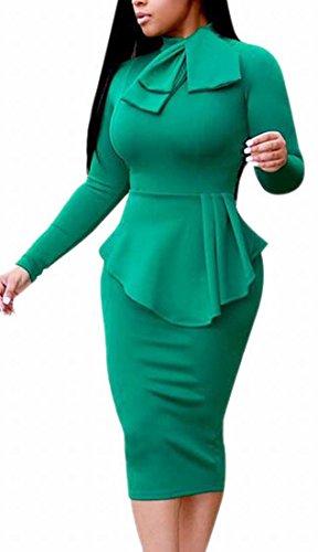 Alion Sexy Des Femmes De L'arc Cou Cravate Manches Longues Robe De Cocktail Moulante Robe Peplum Green1