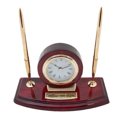 Glenville Executive Wood Clock and Pen Stand 'Glenville State College Engraved'
