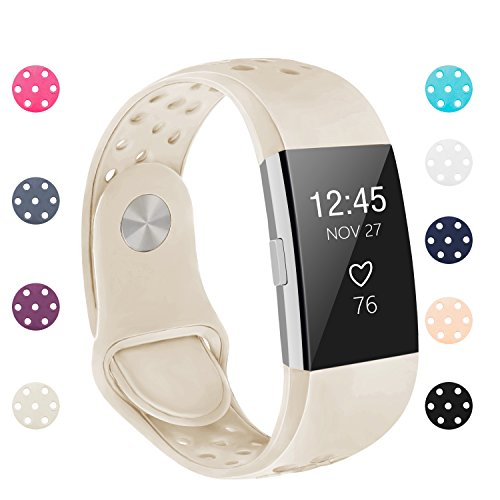 POY Replacement Bands Compatible for Fitbit Charge 2, Adjustable Breathable Wristbands with Air Holes Straps, Large Creamy White