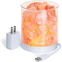 """Levoit Cora Himalayan Salt Lamp, Natural Hymalain Pink Salt Rock Lamps(2 pounds,4.5"""") USB Himilian Sea Salt Crystal Night Light with Touch Dimmer Switch,3 Bulbs,UL-Listed Cord & Luxury Gift Box"""