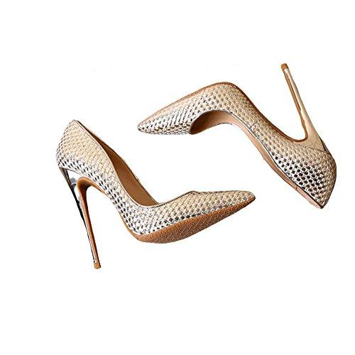 Le printemps et l'été pointu des talons hauts bien avec des paillettes des chaussures de mariage en cristal des chaussures de mariée gold 39