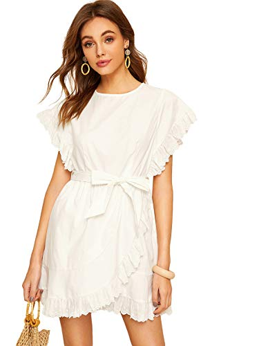- Romwe Women's Elegant Ruffle Trim Eyelet Embroidered V Neck Wrap Short Dress White### L