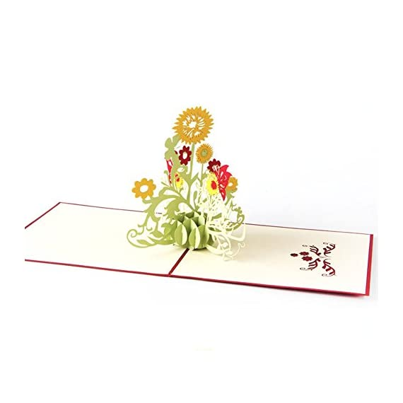 "Wivily Sunflower Handmade 3D Pop Up Christmas Cards Birthday Cards Best Wish Mother's Day Creative Greeting Cards Papercraft 4 Material: Paper Size: 15cm/5.91"" in length , 15cm/5.91"" in width Color: Green Quantity:1Pc"