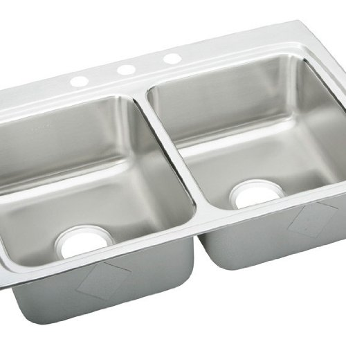 Elkay LRAD3322400 0-Hole Double Basin Top-Mount from the Gourmet Lustertone Series Stainless Steel Kitchen Sink ()