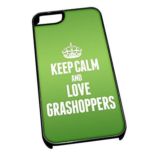 Nero cover per iPhone 5/5S 2431verde Keep Calm and Love Grashoppers