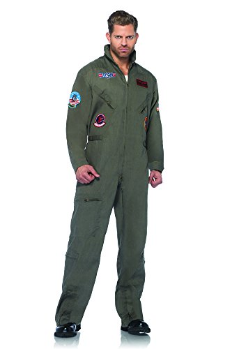 Leg Avenue Men's Top Gun Flight Suit Costume,  Khaki/Green, Small/Medium
