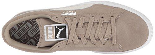 Mens Suede Classic + -M Fashion Sneaker, Vintage Khaki-Puma White, 4 M US