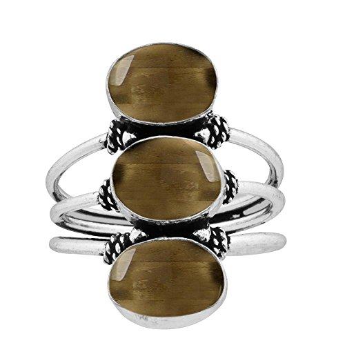 925 Silver Plated 9.80ct, Genuine Smoky Quartz 8x10mm Oval Handmade Fashion Ring (Size9.5) (Smokey Oval Quartz Ring)