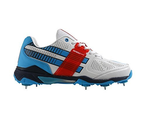 GRAY NICOLLS GN500 Flexi Men's Cricket Shoe, White/Blue/Red, UK10 by Gray-Nicolls by Gray-Nicolls