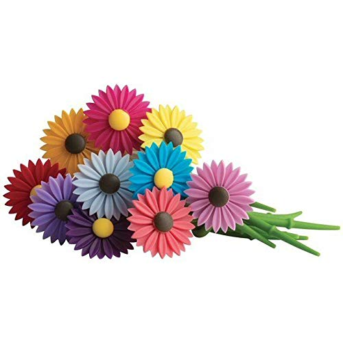 Akkapeary Set of 12 Silicone Daisy Flower Wine Charms Drink Markers different vibrant colors personalization in a stylish and elegant way dishwasher Safe Adjusts to fit all stemware Perfect gift