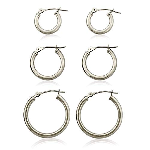 3-Pair 10K White Gold Classic Polished 2mm Tube Hoop Earrings Set