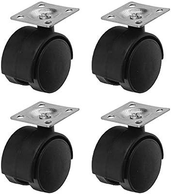 Plate Mount 4pc 1-1//2 Swivel Caster Set Double Wheel