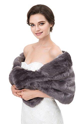 Manteau de Gris Faux de Mariage Fourrure Insun tole Chale Chale Femmes Cape Soire charpes FYqHH1Pw