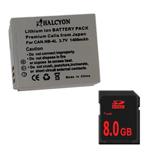 Sd750 Memory Card - NB4L Lithium Ion Replacement Battery + 8GB SDHC Memory Card for Canon PowerShot Elph 100 HS 300 HS, SD1000 IS, SD1400 IS, SD600, SD630, SD750, SD780 IS, SD940 IS, SD960 IS, TX1 Digital Cameras