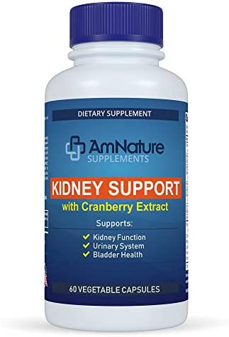 AmNature Kidney Support with Bladder Health Urinary Tract System, Cranberry Extract Blend 20 Herbs Nutrients Formula Supports Healthy Kidney, Pack of 60 Vegetable Capsules