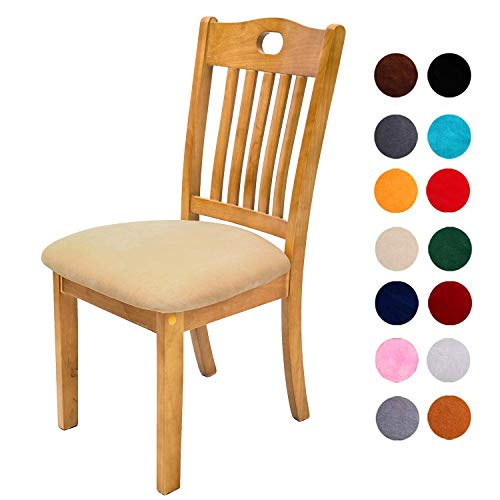 Comqualife Soft Velvet Dining Chair Seat Covers, Stretchable Dining Room Upholstered Chair Seat Cushion Cover, Removable Washable Anti-Dust Kitchen Chair Protector Slipcovers – Set of 6, Beige