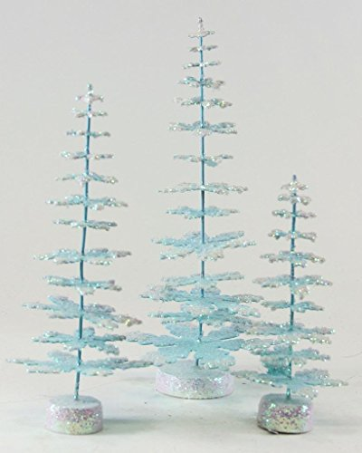 "Cody Foster Enchanted Christmas Trees Snowflake Branches Blue, 6"", 8"", 10.5"" -  RO-233-B"