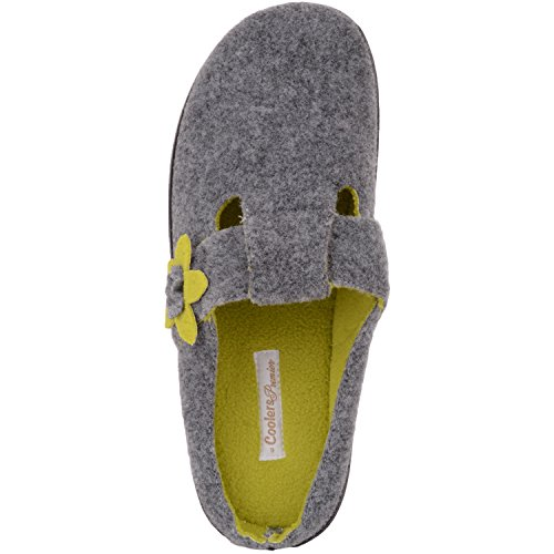 Absolute Footwear Womens Soft Felt Slip On Mules/Slippers/Indoor Shoes With Floral Design Grey/Green AM67lcr
