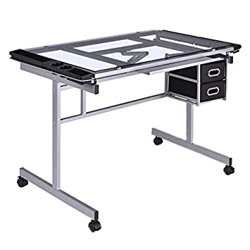 Drawing Desk Adjustable Rolling Drafting Painting Table Tempered Glass Top Art Craft Hobby Studio Architect Work