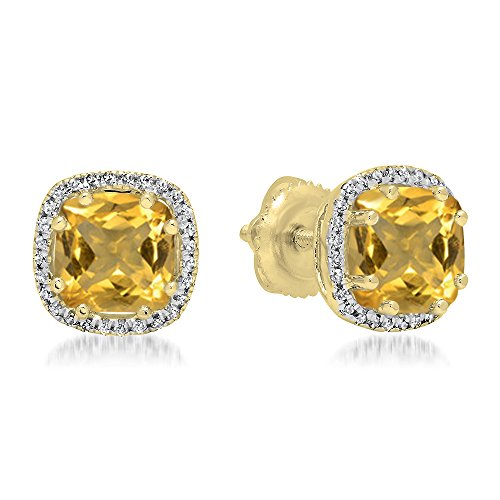 Diamond And Earrings Citrine (18K Yellow Gold 6 MM Cushion Citrine & Round White Diamond Ladies Halo Style Stud Earrings)