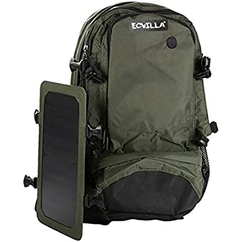 ECVILLA Hiking Daypack with Solar Charger for Outdoor, Camping, Climbing & Solar Backpack Power for iPhone Samsung Smartphones Tablets
