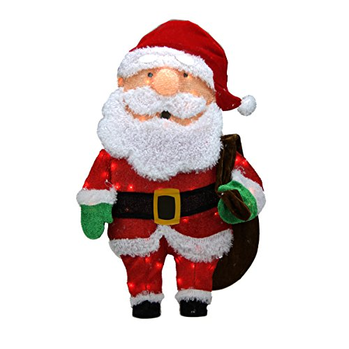 ProductWorks 32-Inch Pre-Lit Candy Cane Lane Santa Claus Christmas Yard Decoration, 50 Lights by Product Works