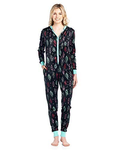 Ashford & Brooks Women's Mink Fleece Hooded One Piece Pajama Jumpsuit - Black Turquoise Feather - 3X-Large -