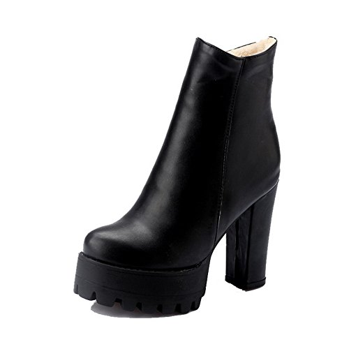 Allhqfashion Women's PU Low-Top Solid Zipper High Heels Boots Black C7zPUrW