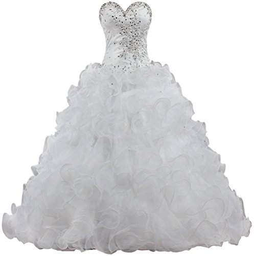 Unbranded**** Women's Strapless Bead Ruffle Organza Wedding Dresses Bride K526-MFN