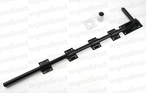 Gatemate 24' 600mm Premium Drop Bolt Galvanised AND Powder Coated Black