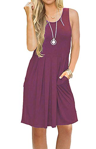 AUSELILY Women's Swing Casual Sleeveless Tank Dress with Pokcets Mauve XL