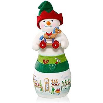 Hans K. Woodsworth Snowtop Lodge Porcelain Snowman Elf Ornament 2015 Hallmark