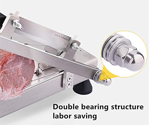 CGOLDENWALL Stainless Steel Meat Slicer Manual Frozen Meat Slicer Beef Mutton Roll Slicing Machine Vegetable Meat Cutter for Hot Home Cooking Thickness Adjustable 0.5mm-8mm by CGOLDENWALL (Image #4)